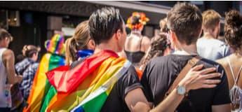 A group of people at a LGBTQ Pride parade
