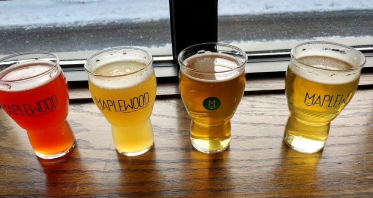 """four beer glasses with the """"maplewood"""" logo on them, filled with different colored beers"""