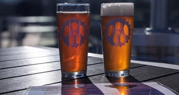 two beer glasses backlit by the sun going down