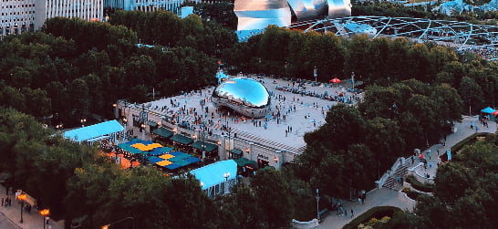 aerial view of millennium park and cloud gate