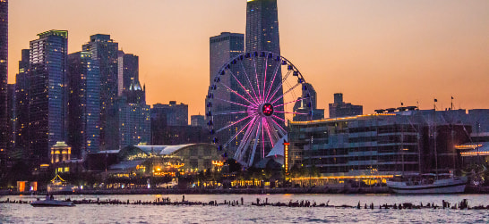 navy pier in the early evening sunset