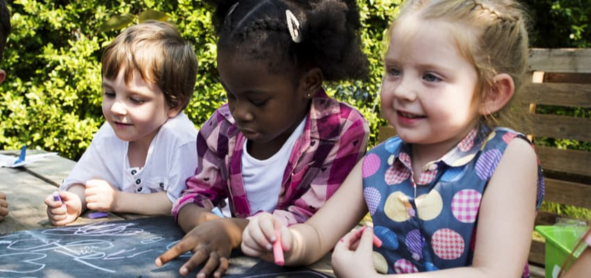children at a field trip activity outdoors